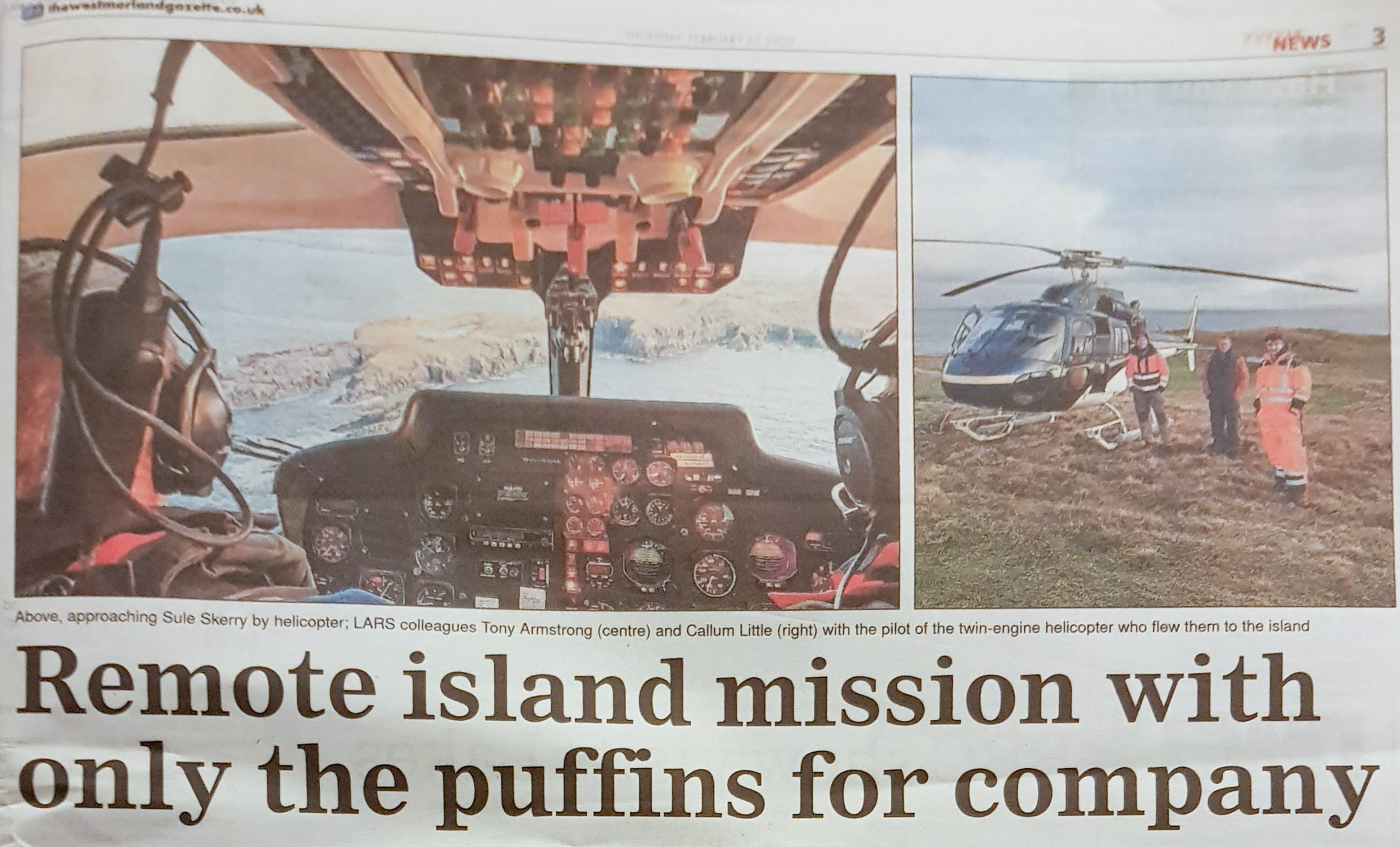 LARS Communucations' trip to Sule Skerry was featured on page 3 of the Westmorland Gazettte newspaper