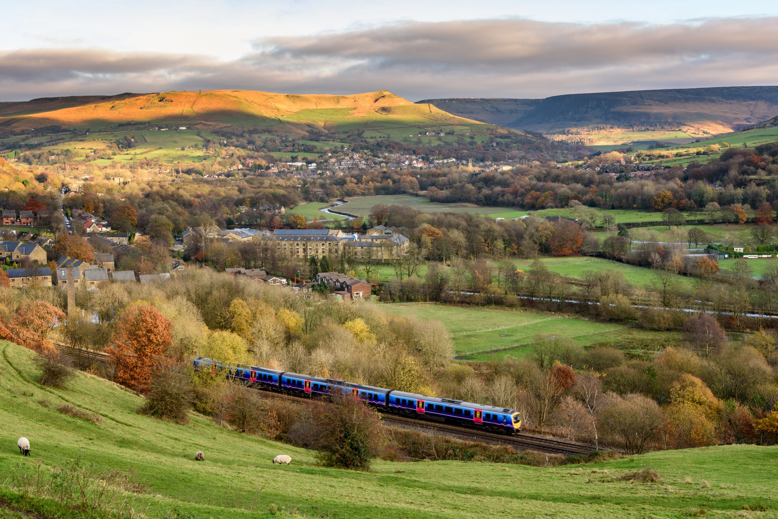 Train travelling through the UK countryside