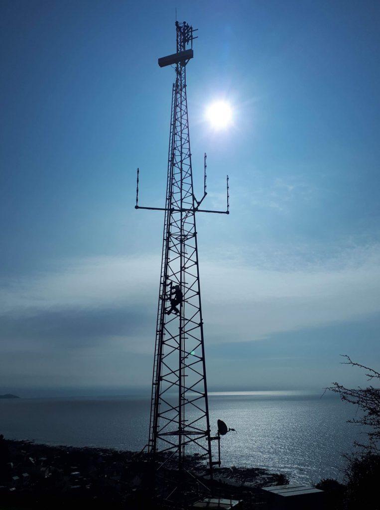Tower installation work in Saltash, the gateway to Cornwall